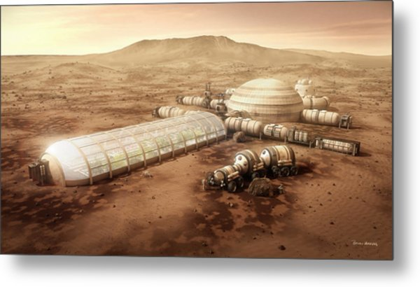 Metal Print featuring the mixed media Mars Settlement With Farm by Bryan Versteeg