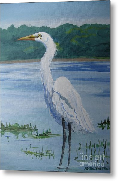 Marsh Land Egret Metal Print