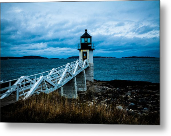 Marshall Point Light At Dusk 2 Metal Print