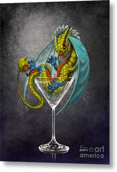 Martini Dragon Metal Print