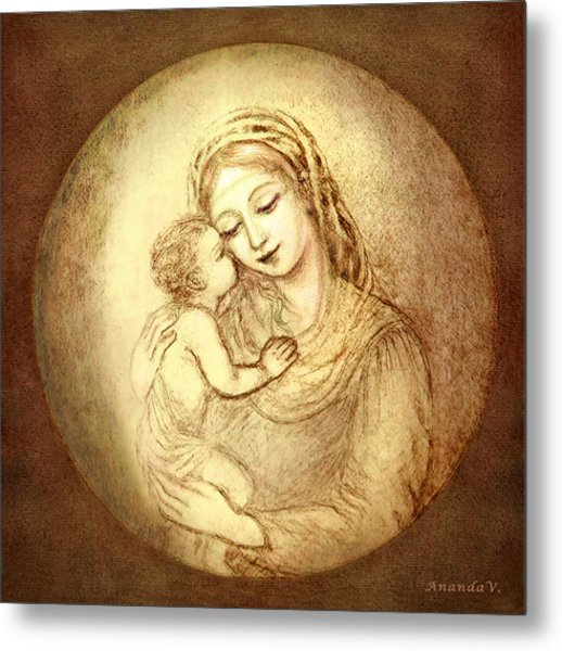 Mary And Jesus Metal Print by Ananda Vdovic