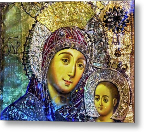 Mary And Jesus Icon, Greek Orthodox Metal Print by William Perry