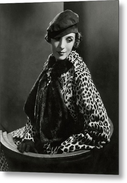 Mary Oakes Wearing Revillon Freres On A Chair Metal Print