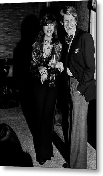 Mary Russell Laughing With Yves St. Laurent Metal Print