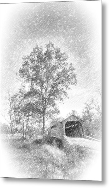 Maryland Covvered Bridge In Pencil Metal Print