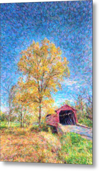 Maryland Covvered Bridge Oil Painting Metal Print