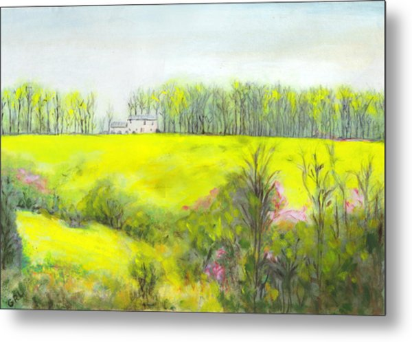 Maryland Landscape Springtime Rt40 East Original Painting Metal Print