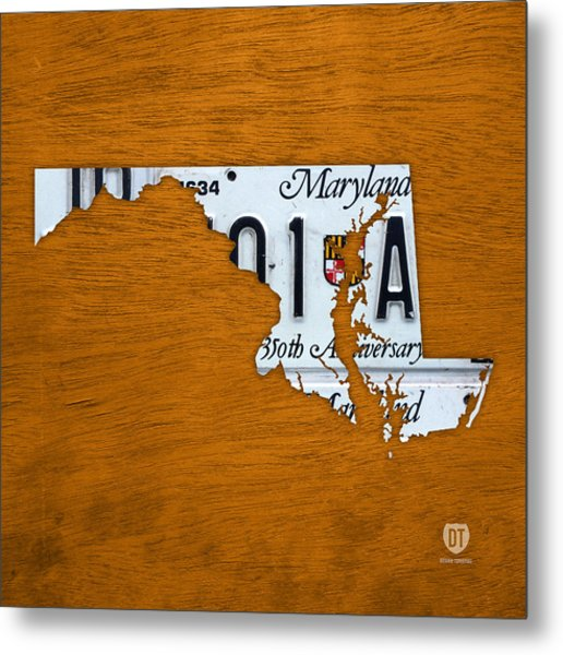 Maryland State License Plate Map Metal Print