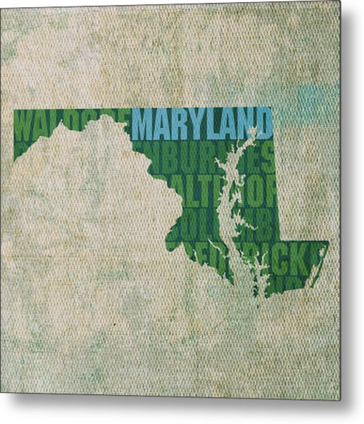 Maryland Word Art State Map On Canvas Metal Print