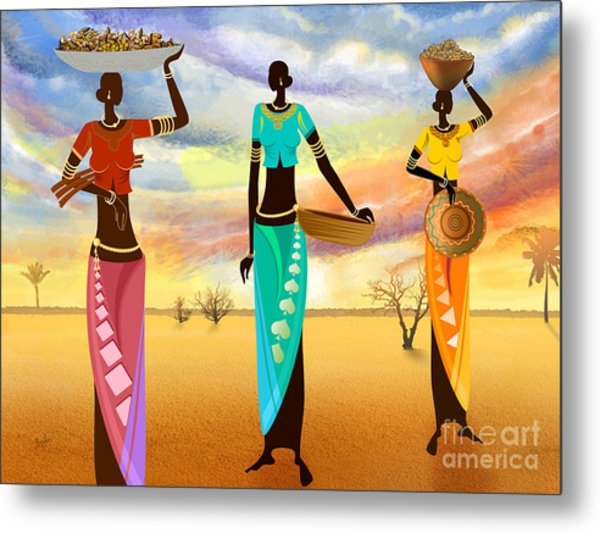 Masai Women Quest For Grains Metal Print