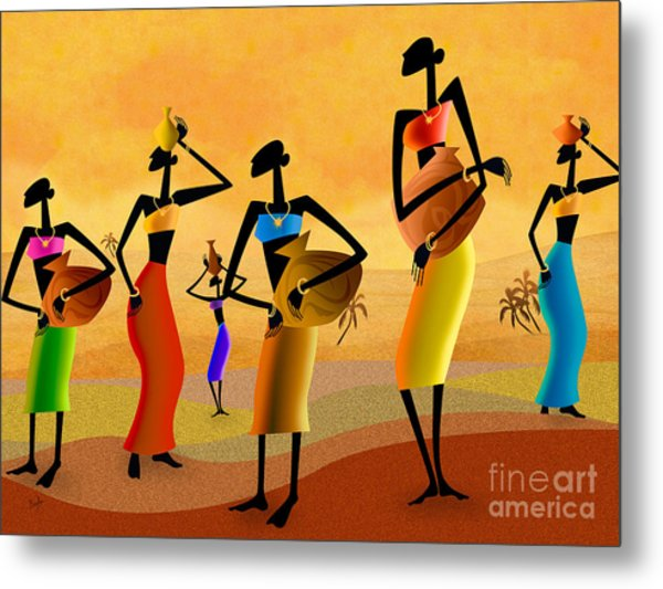 Masai Women Quest For Water Metal Print