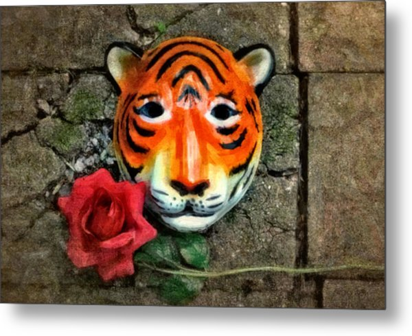Mask And Rose Metal Print