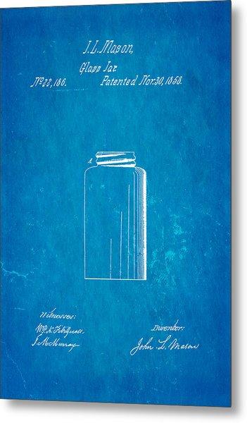 Mason Jar Patent Art 1858 Blueprint Metal Print