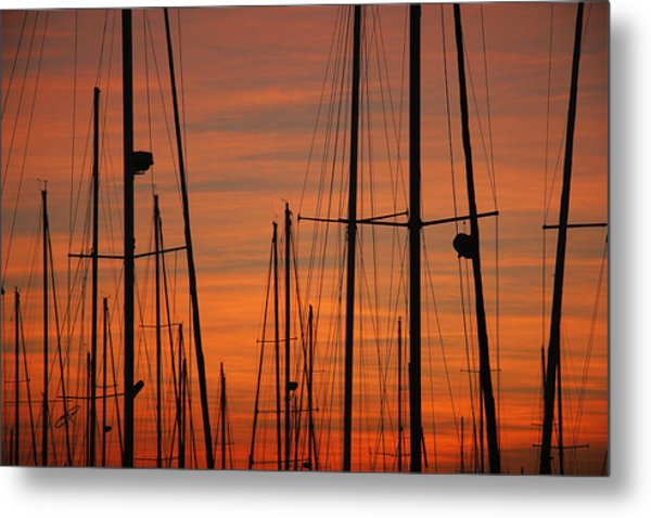 Masts At Sunset Metal Print