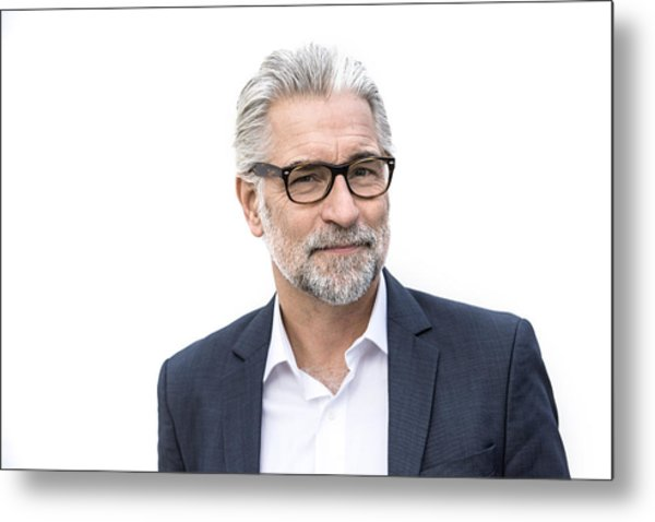 Mature Grey-haired Man In Suit Smiling Metal Print by Robin Skjoldborg