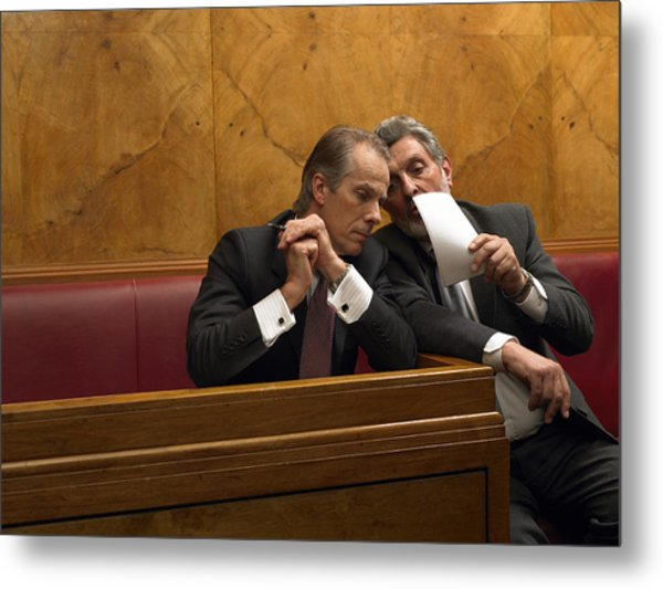 Mature Man Whispering To Colleague In Pew Metal Print by Michael Blann