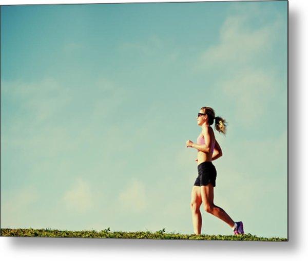 Mature Woman Jogging Outdoors Metal Print