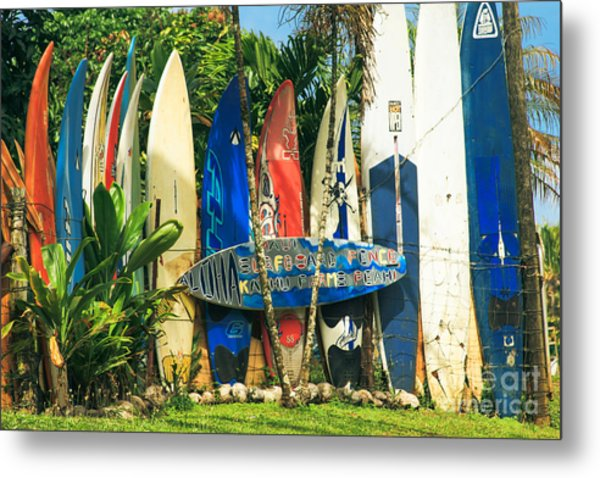 Maui Surfboard Fence - Peahi Hawaii Metal Print