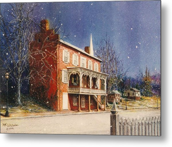 May House In Winter Metal Print