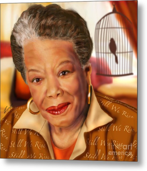 Maya Angelou Rise Of The Song Bird Metal Print