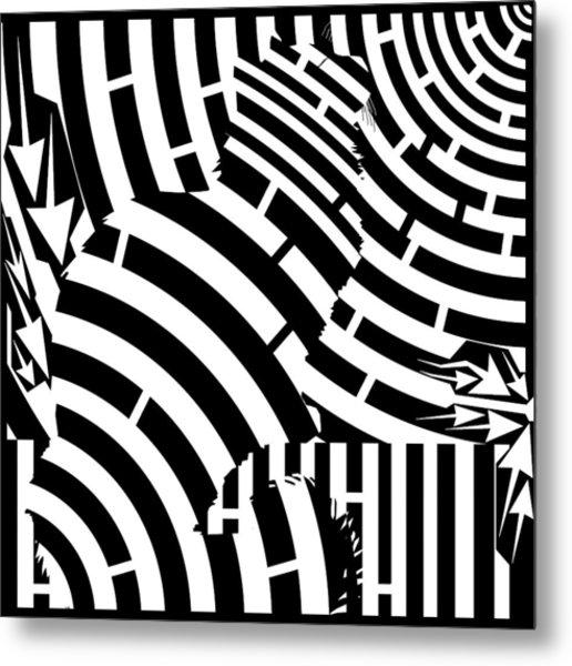 Maze Of Cat On Fence Op Art Metal Print by Maze Op Art Artist
