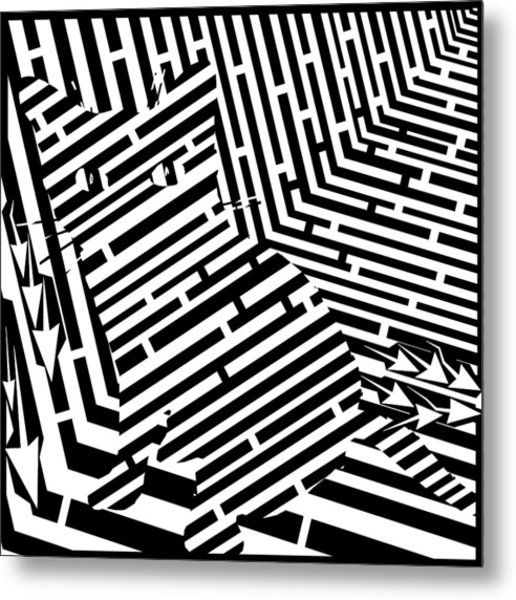 Maze Of Snarly The Cat Metal Print by Yonatan Frimer Maze Artist