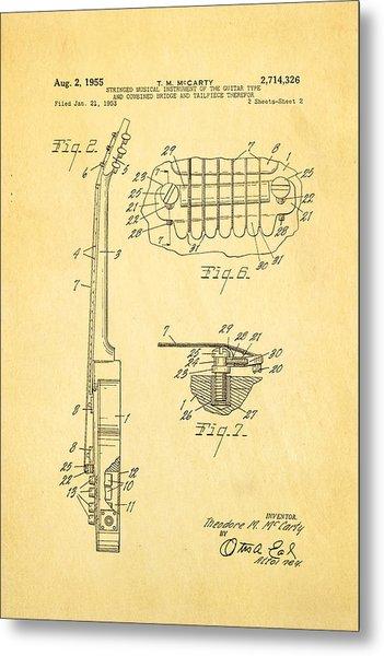 Mccarty Gibson Les Paul Guitar 2 Patent Art 1955 Metal Print by Ian Monk