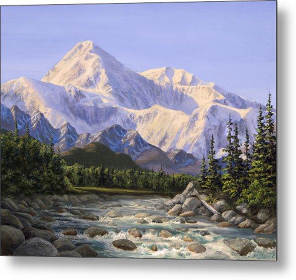Majestic Denali Mountain Landscape - Alaska Painting - Mountains And River - Wilderness Decor Metal Print