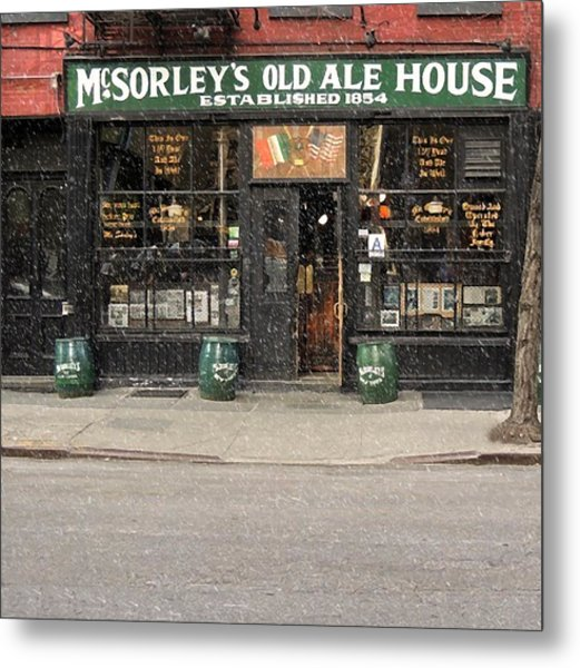 Mcsorley's Old Ale House During A Snow Storm Metal Print