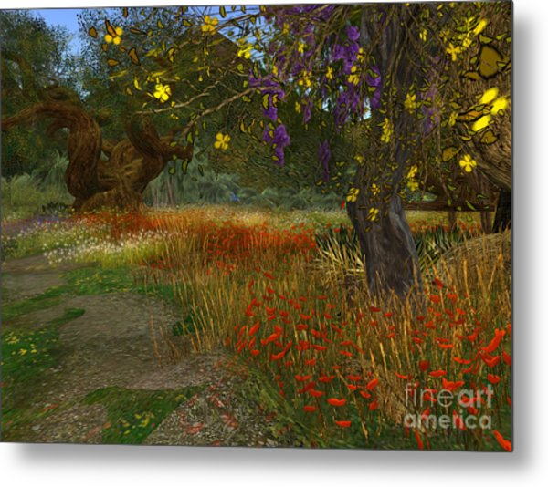 Meadow And Trees Metal Print