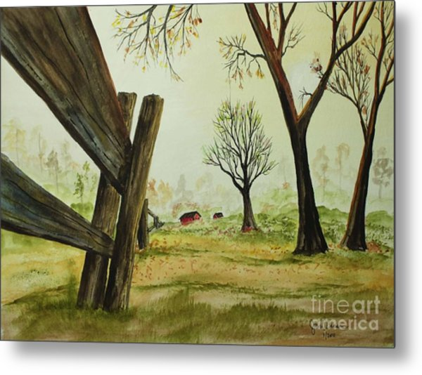 Meadow Fence Metal Print by Jack G  Brauer