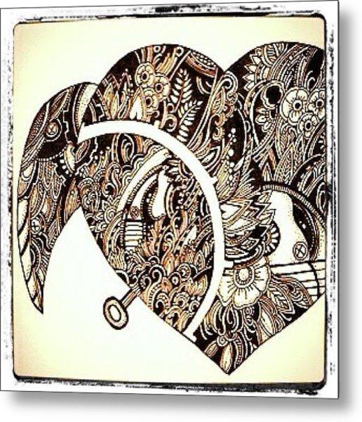 Mechanical Heart #ink #drawing #doodle Metal Print