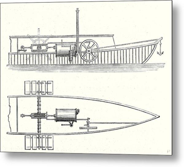 Mechanism Of Marquis De Jouffreys Paddle Steamers Engine Metal Print By English School