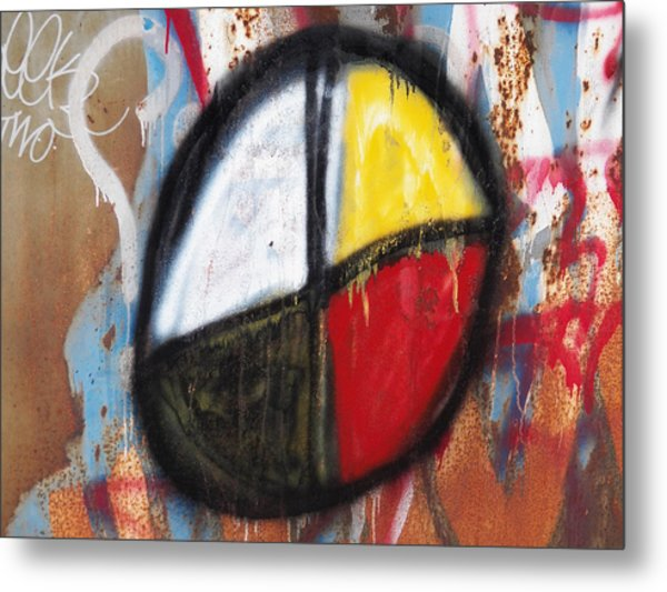 Medicine Wheel Graffiti Metal Print