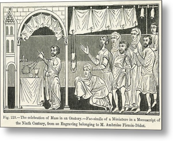 Medieval Mass The Celebration Of Mass Metal Print by Mary Evans Picture Library