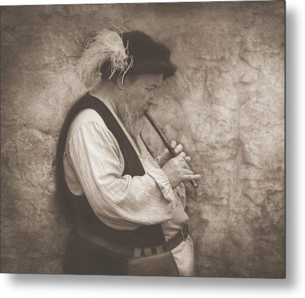Medieval Flute Player Metal Print by Pat Abbott