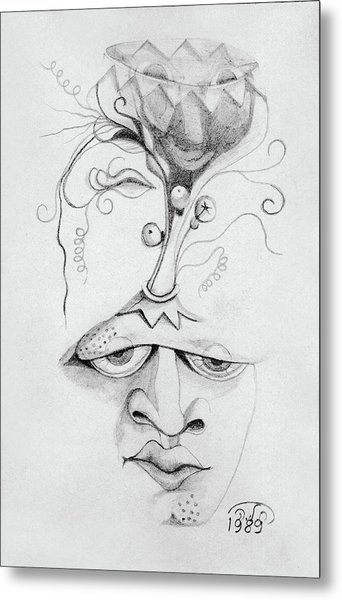 Meditation On The Crown Chakra Or Where Is Your Mind Going Surrealistic Fantasy Of Face With Energy  Metal Print