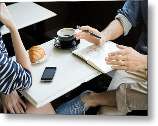 Meeting Over Coffee Metal Print by Image Source