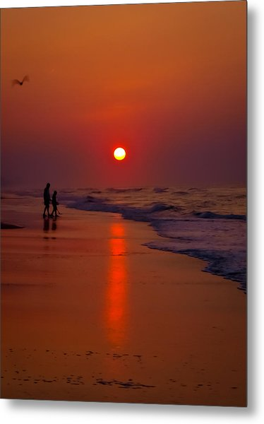 Meeting The Waves Metal Print by Ron Plasencia