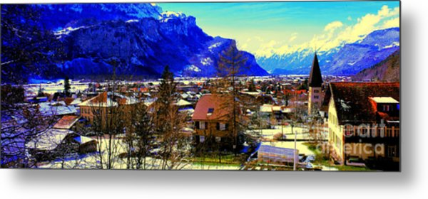 Meiringen Switzerland Alpine Village Metal Print