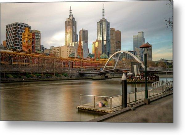 Melbourne City View From Southbank Pier Metal Print by Mariusz Kluzniak