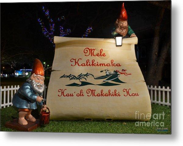 Mele Kalikimaka Sign And Elves Metal Print