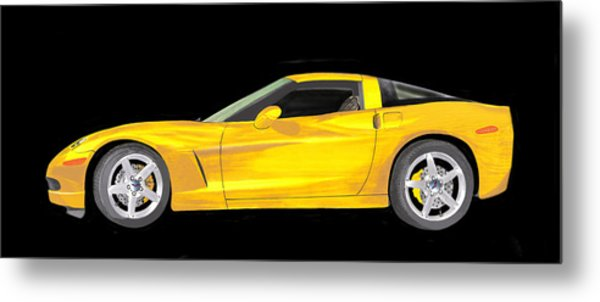 Mellow Yellow Corvette C 6 Metal Print