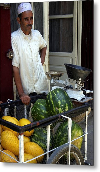 Melon Seller Old Medina Fez Morocco Metal Print by PIXELS  XPOSED Ralph A Ledergerber Photography