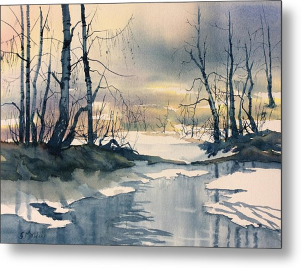 Melt Water On Skipwith Common Metal Print
