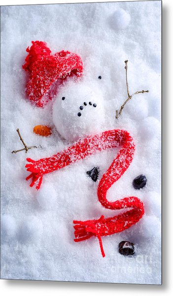 Melted Snowman Metal Print