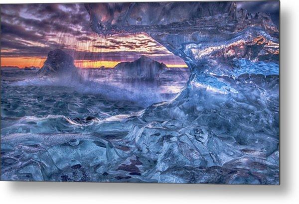 Melting Blue Crystal Metal Print by Peter Svoboda, Mqep