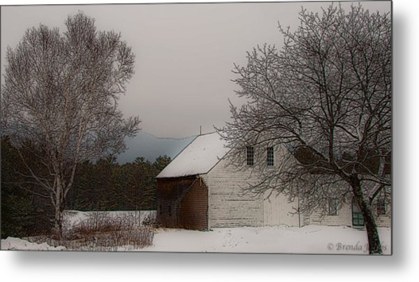 Melvin Village Barn In Winter Metal Print