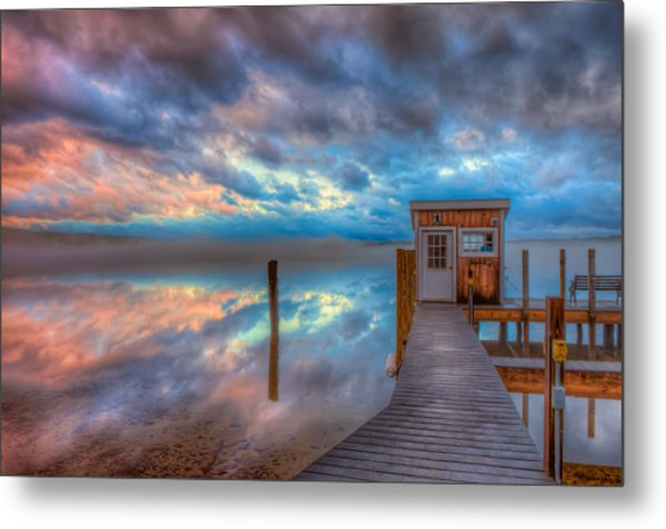 Melvin Village Marina In The Fog Metal Print