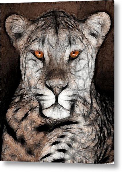 Memphis Leopard Artwork Metal Print